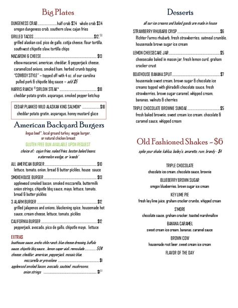 Boathouse Lunch Menu by Boathouse 19 Menu