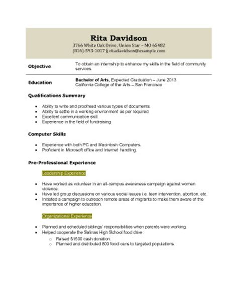 resume for high student with no work experience