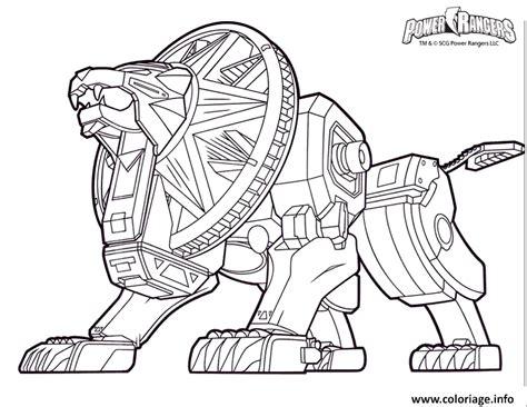 coloriage power rangers dino charge lion robot jecoloriecom