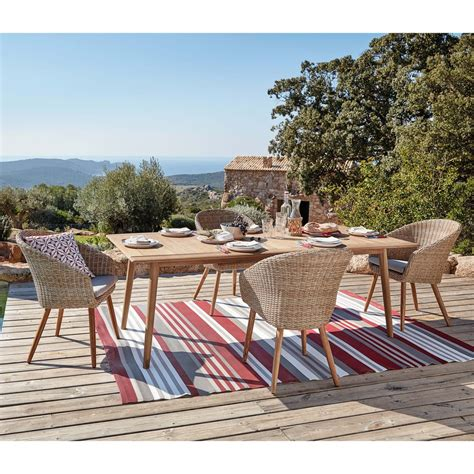 table de jardin 8 personnes table de jardin 8 personnes en acacia massif frejus maisons du monde