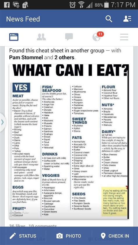 carb cheat sheet    eat ketogenic diet food