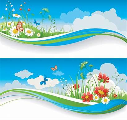 Vector Spring Banners Clipart Banner Nature Summer