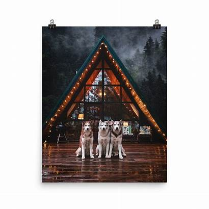 Cozy Cabin Frame Poster Posters Husky Squad