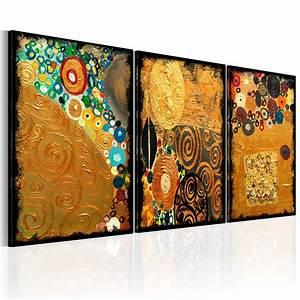 Gemalte Bilder Auf Leinwand : bilder leinwand bild abstrakt klimt mosaik bunt braun gold ~ A.2002-acura-tl-radio.info Haus und Dekorationen