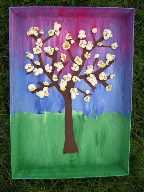 bloesem popcorn knutselen lente groep 4 kinderen