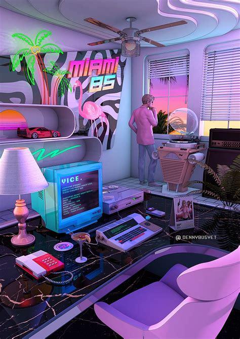 Anita roll designer & decorative artist. 'Synthwave Miami 85' Poster by dennybusyet | Neon room ...