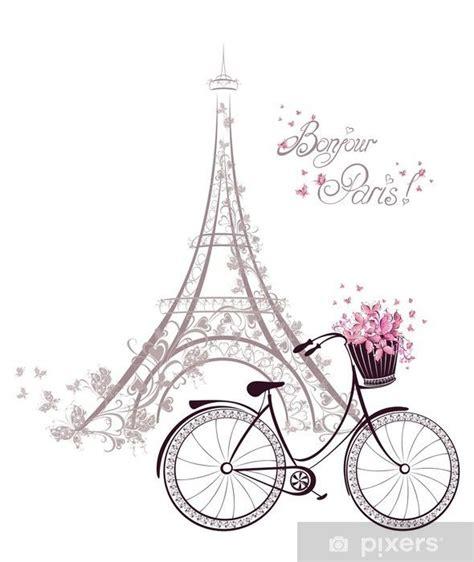 bonjour paris text  eiffel tower  bicycle sticker