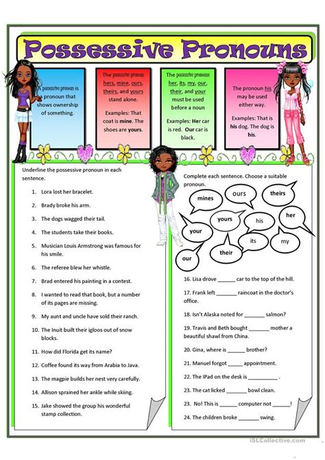 Grammar, possessive nouns, languagearts worksheet for grade 4. Possessive Pronouns 2 worksheet - Free ESL printable ...