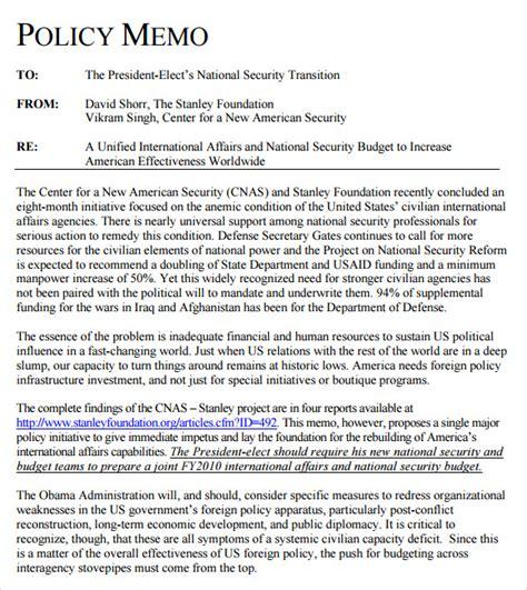 policy memo template 13 sle policy memos sle templates