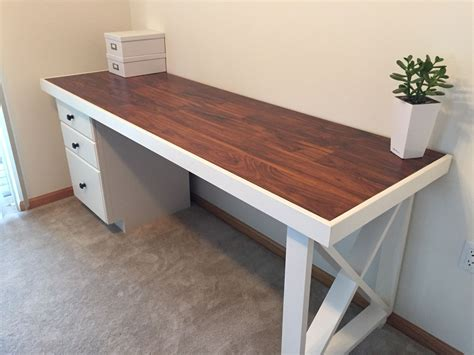 diy desk  solid wood door topped  scrap laminate