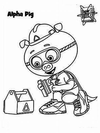 Coloring Super Pig Alpha Hero Form Superwhy