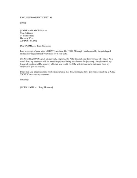 letter   excused  jury duty mysafetglovescom