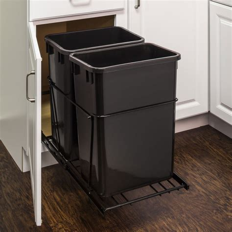 double garbage can cabinet double 35 quart trash can pullout all cabinet parts