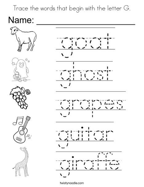 preschool words that start with g trace the words that begin with the letter g coloring page 402