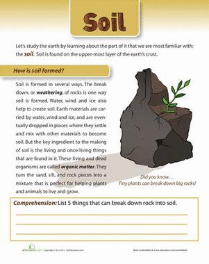 soil formed science worksheets grade  science