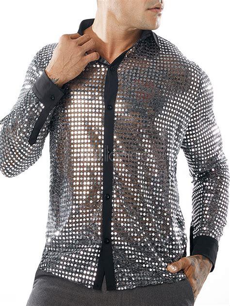 camisa metalica de hombre  brillo de lentejuelas