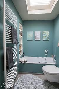 Bad Deko Türkis : kleines bad in farbe mit wandleuchte lena von click werbung stylish living ~ Sanjose-hotels-ca.com Haus und Dekorationen