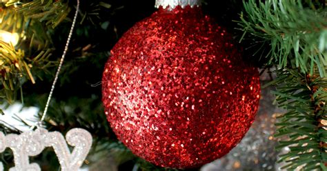 red glitter christmas tree ornaments  sisters