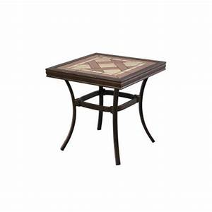 Hampton bay pine valley tile top patio side table for Patio end tables home depot