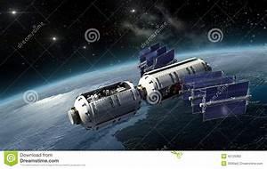 Satellite, Spacelab Or Spacecraft Surveying Earth Stock ...