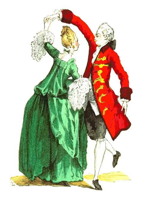 Clipart - 18th century French ballroom costumes