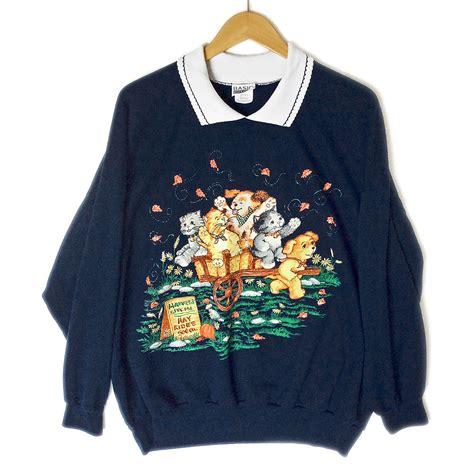 plus size sweaters puppy hay ride tacky cat sweatshirt plus