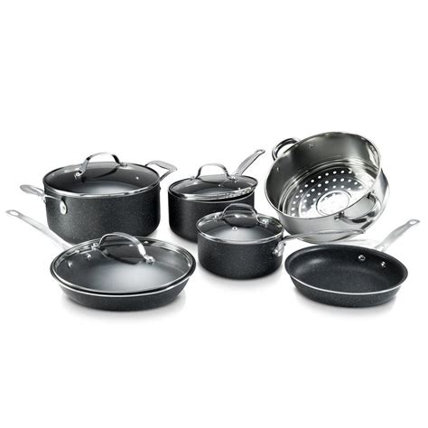granite cookware stone diamond stick non piece coating titanium lids mineral charcoal enforced sets 2228