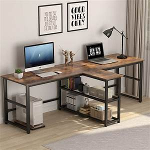 Tribesigns, 94, 5, Inch, Computer, Desk, Extra, Long, Two, Person, Desk, With, Storage, Shelves, Double