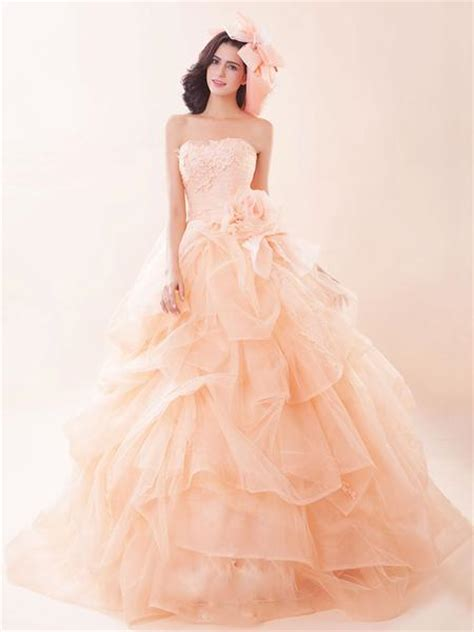 Strapless Peach Pink Quinceanera Ball Gown  Ee  Dress Ee   G