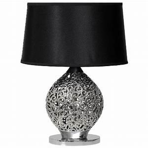 Lampe de chevet design arabesques céramique noir MW Light
