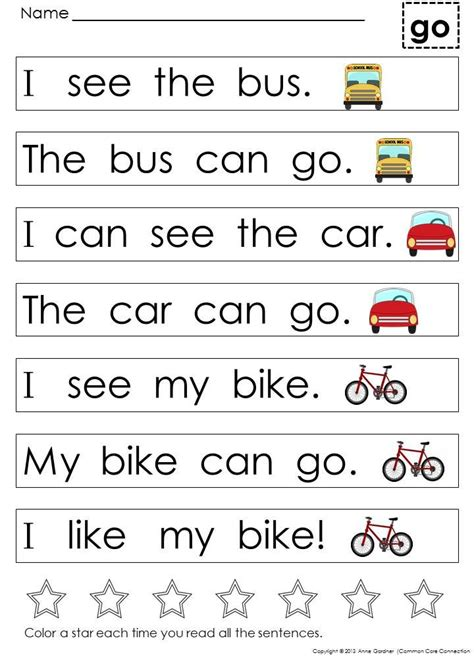 Kindergarten Sight Word Sentences And Games For Guided Reading Levels A And B Kindergartenklub