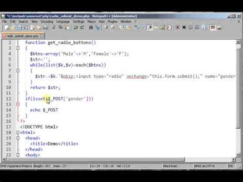 radio button list in html using php and submit onchange event youtube