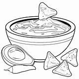 Coloring Avocado Bowl Guacamole Nachos Chips Vector Printable Chili Colorear Dip Clip Vettore Ciotola Libro Clipart Illustrations Colouring Aguacate Vectors sketch template