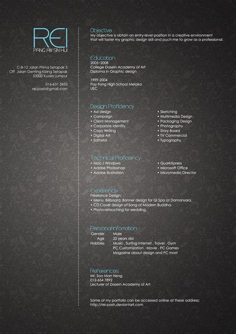 30 Beautiful Designer's One Page Resume Samples The