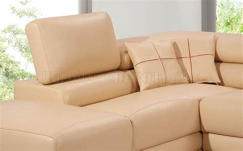 Beige Top Grain Full Leather Modern Sectional Sofa W/2 Pillows