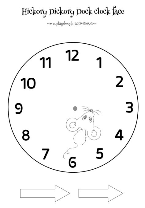 hickory dickory dock numbered clock printable 322 | tell the time clock face printable