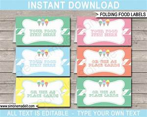 ice cream party food labels place cards ice cream With food labels for party template