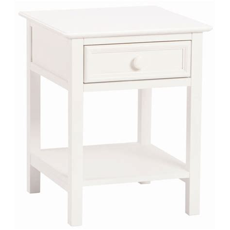 White Solid Wood Nightstand Bellacor