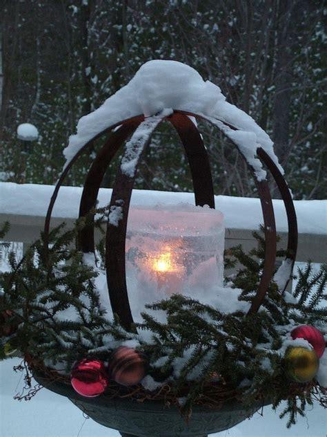 whiskey barrel hoops   ice candle   birdbath