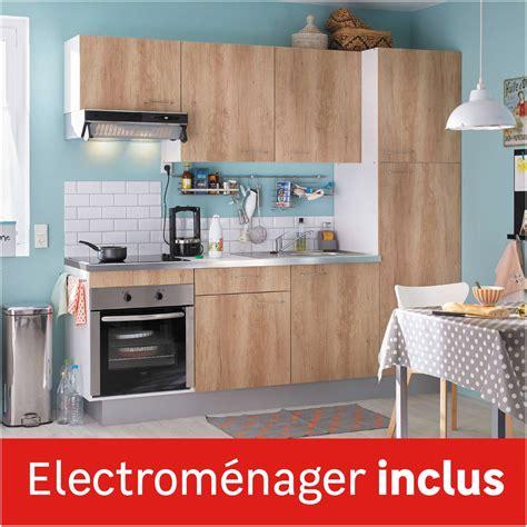 cuisine avec electromenager inclus pas cher cuisine équipée imitation chêne clair l 240 cm