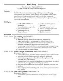 plumbing foreman resume templates journeymen plumbers resume sle my resume