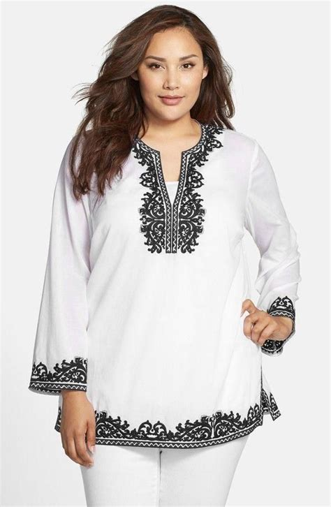embroidered cotton tunic plus size color white black