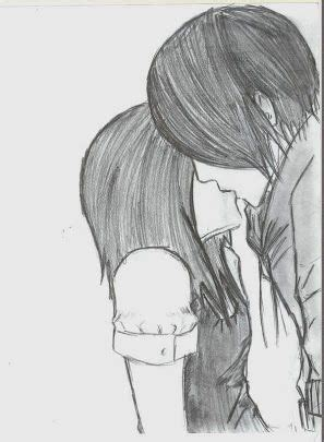 emo couple kissing drawing love pinterest cute