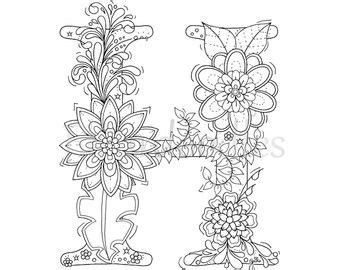 malseite zum ausdrucken buchstabe  floral handgezeichnetes unikat ausmalbilder mandal