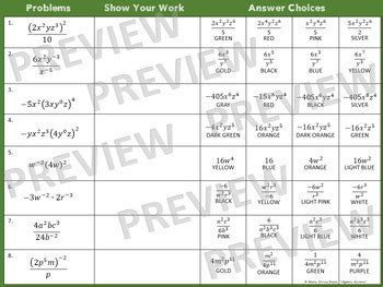 exponent rules laws  exponents coloring activity