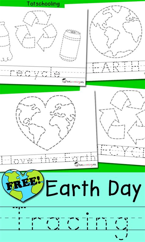 earth day picture amp word tracing totschooling toddler 174 | Earth Day Tracing