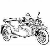 Motorcycle Coloring Sidecar Printable Russian Motorcycles Ural Raskrasil sketch template