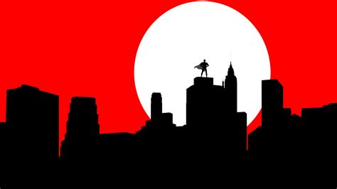 Super Hero Hd Wallpaper Minimalistic Cityscapes Red White Superman Superheroes Superhero Dramatic Man Of Steel