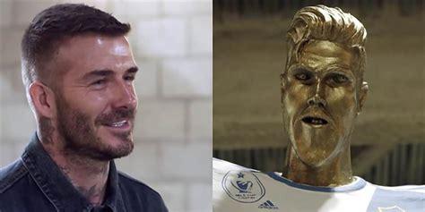 Slavenais futbolists Deivids Bekhems izjokots statujas ...