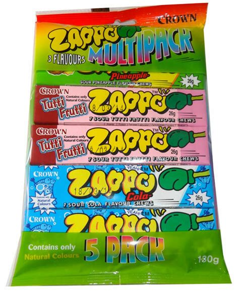 zappo chews pack multi colour lolly strawberry crown packs unit display number confectionery